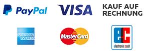paypal - Visa - Kauf auf Rechnung - American Express - Mastercard - ec Karte
